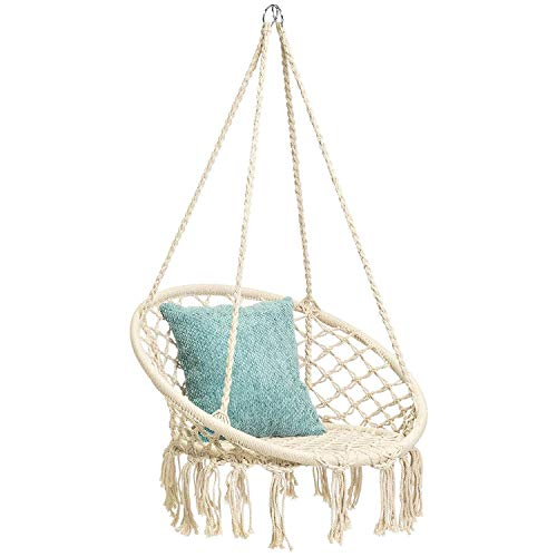 X-cosrack Hanging Swing Chair for 2-16 Years Old Kids, Handmade Knitted Macrame Hammock Swing Chair for Indoor,Bedroom,Yard,Garden- 230 Pound Capacity (Stand and Chain not Included)