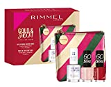 Rimmel London, Confezione Regalo Donna Gold & Shock Collection Nail Pink Kit, Pochette Metalizzata con Set Smalti 60 Seconds e Nail Base & Top Coat