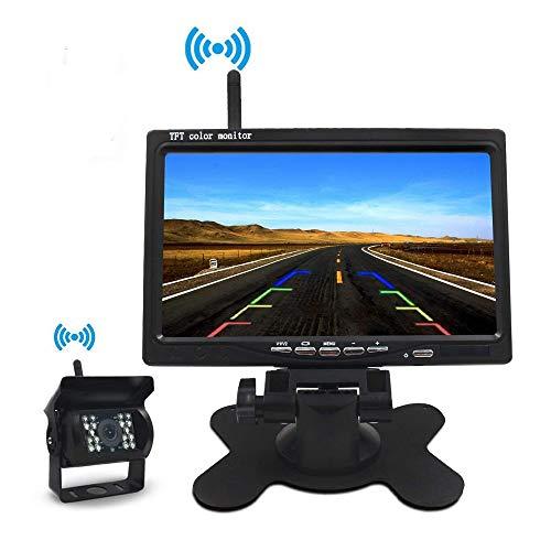Caméra de Recul sans Fil Kit 7 Pouces TFT LCD Miroir Moniteur Signal Amélioré 2.4G/IP67 étanche/Vision Nocturne de 18pcs LED,pour...