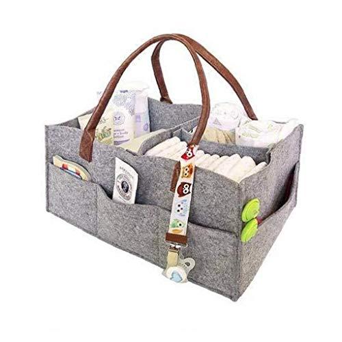 TOPofly Pañal Caddy Organizador, Fieltro Plegable Bolsa de Almacenamiento portátil multifunción Ligeramente Compartimentos para la Mama recién Nacido Niños Pañales, Gris