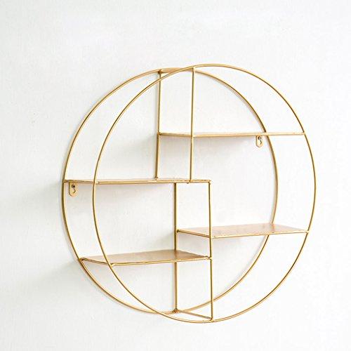 Creatieve metalen wandplank wandgemonteerde opbergrekken, huis/café/restaurant muurdecoratie Goud