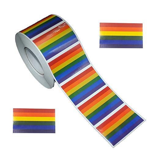 Ashlyric Gay Pride Rainbow Stickers, Rectangle Shaped 6 Colors Stripes Decals on a Role - Support LGBT Causes - 500 Pieces