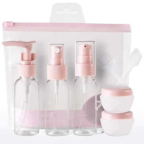 Kit de Bouteille de Voyage Vide Plastique 9 Pcs Le Shampooing Liquide Laque Lotion Crème (Rose)