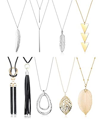 ORAZIO 9 Pcs Long Necklace Set for Women Girls Disk Tassel Fringe Necklace Simple Bar Statement Pendant Necklace Silver and Gold Fashion Jewelry Set