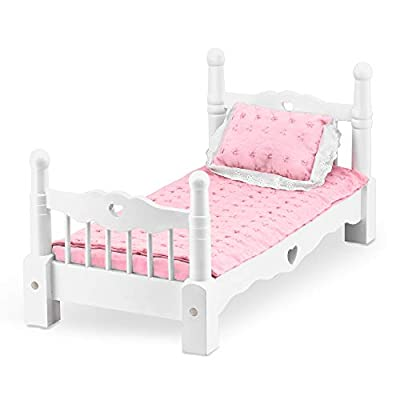 Melissa & Doug White Wooden Doll Bed With Bedding, 24 x 12 x 11-Inches