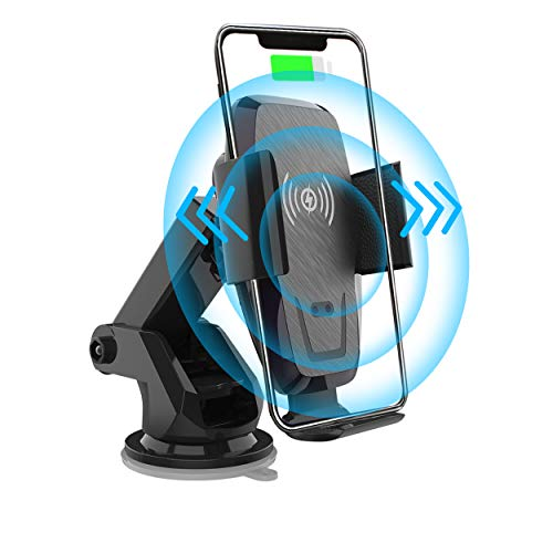 Iotton Wireless Car Charger, Auto Clamp 10W/7.5W Qi Fast Charging Car Mount, Windshield Dash Air Vent Phone Holder Compatible iPhone 12/12 Pro/12 Pro Max/11/XS/XS Max/X/8/8+, Samsung Note10/S10/S10+