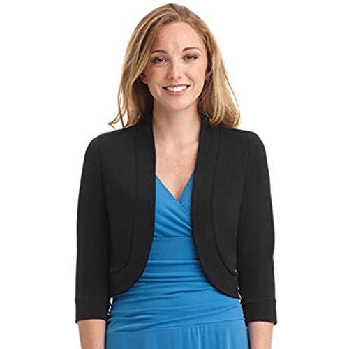 Women Half Sleeve Mini Cardigan Fashion Office Work Casual Solid Novelty Short Coats Black