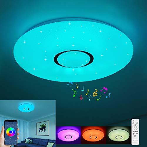 Plafonnier LED avec télécommande à intensité variable 18 W Plafonnier ciel étoilé RVB blanc chaud/blanc froid IP44 étanche