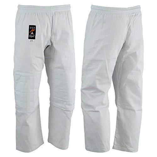 Playwell Arts Martiaux Judo Pantalon Blanc Blanchie - (Double Rembourré Genoux) - Blanc, 120cm