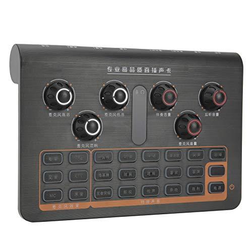 Mezclador de audio, Q8 Tarjeta de sonido de sintonización portátil, 16 controladores de audio, Consola de placa de sonido,para teléfono Computadora PC Mic Webcast Live Bluetooth