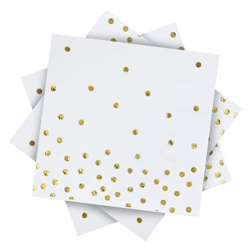 Aneco Papierservietten, Weiß mit goldfarbenen Punkten, 3-lagig, ideal als Party-Dekoration, 12,7 cm x 12,7 cm, 120 Stück weiß