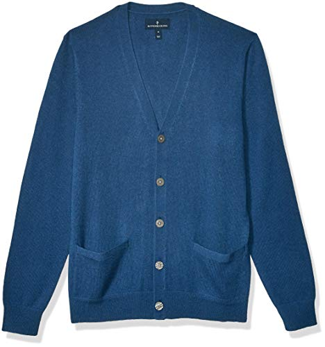 Amazon Brand - Buttoned Down Men's 100% Premium Cashmere Cardigan Sweater, Blue Medium