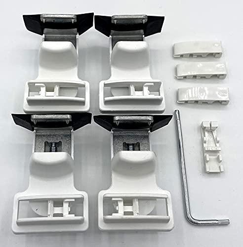 4 Stück Klemmträger für Plissees mit integriertem Spannschuh und Dichtungspad - Montage ohne Bohren direkt auf dem Fensterflügel Ihres PVC-/Kunststofffensters - ps QUICKFIX