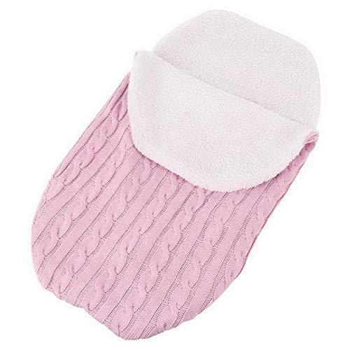 laamei Manta de Invierno para Bebé Recién Nacido Manta Envolvente Saco de Dormir Swaddle Diseño Universal y Multifunción para Sillas de Bebé, Cochecitos, Cunas (A-Rosa Rojo)