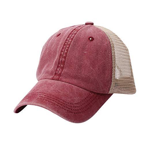 aijofi Mesh Visor Cap Herren Damen Baseball Kappe Trucker Baseballkappe Hat Mode Atmungsaktiv Sonnenhut Hip Hop Flat Hüte Schirmmütze