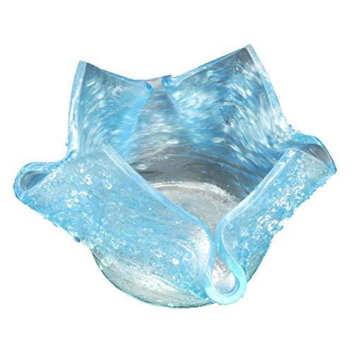 kruzifix24 glazen schaal voor theelicht decoratieve schaal windlicht lichtblauw Fusinglas oppervlak reliëf 10,5 x 10,5 cm glaskunst uniek geschenkidee