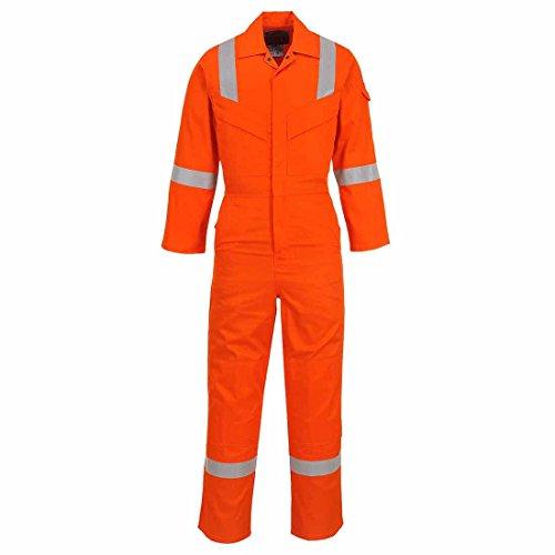 Portwest - Mono antiestático resistente al fuego, peso superligero, 210 g, color naranja, mediano – pierna de 33 pulgadas