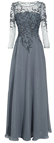 Meier Women's Starlit Beaded Long Sleeve Mother of The Bride Evening Gown (Plus Size W18, Grey) (Apparel)