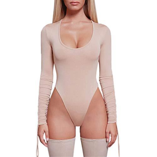 Manadlian Femmes Teddie Body à Manches Longues Col V Sexy Jumpsuits Slim T-Shirt Hauts de Chemisier