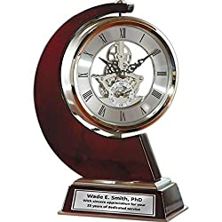 AllGiftFrames Large Gear Da Vinci Desk Clock Which Rotates 360 Degrees with Silver Engraving Plate. Unique, Wedding, Retirement and Appreciation Award