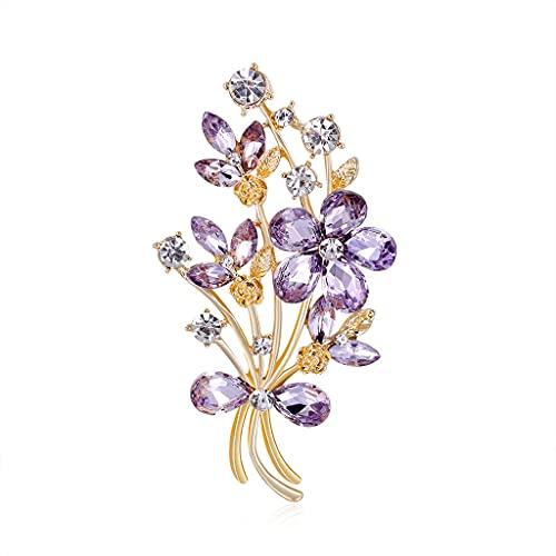 CXSD Flor de mujer ramillete aleación chapado Rhinestone cristal ramo broche