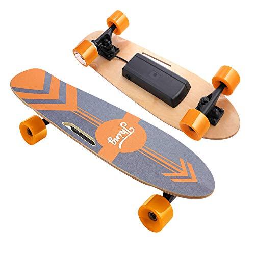Devo Electric Skateboard, 12 MPH Top Speed, 350W Singal Motor, 10 Miles Range, Load up to 220Lbs,7 Layers Maple Longboard, Wireless Remote E-Skateboard for Adult Teens (Orange)