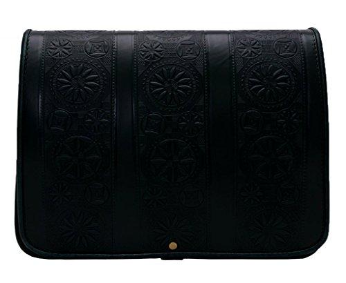 Koson Leer - Zwarte Kolommen – Traditionele Motieven Lederen tas met gevormde patronen