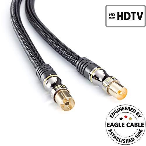 inakustik – 10038016 – Deluxe Koax-Antennenkabel (m -> w) | Speziell für hochauflösende HDTV-Fernsehformate entwickelt | 1,6m in Schwarz | 100 dB - 3-fache Abschirmung | mit Geflechtschirm