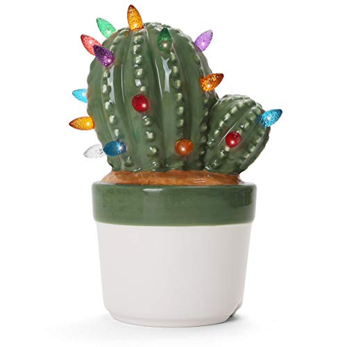 Ceramic Christmas Tree - Tabletop Christmas Tree with Lights - Lighted Vintage Ceramic Tree (Cactus Succulent, Succulent Green)