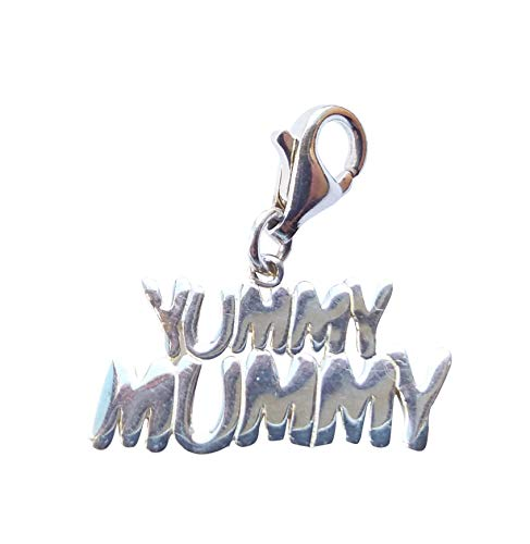 Yummy Mummy Charm. Solid Sterling Silver 925. With Lobster Clasp. Boxed