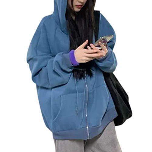 FATTERYU Chaqueta con Capucha de Manga Larga para Mujer Abrigo de Sudadera de Gran tamaño con Letras de Color sólido