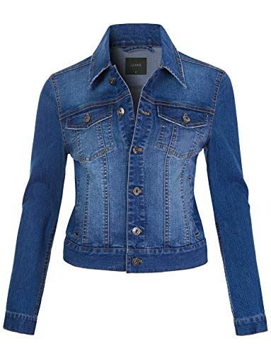 LE3NO Womens Classic Vintage Long Sleeve Button Down Denim Jean Jacket, MediumBlue, Small