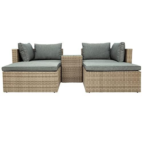 Muebles de patio de liquidación, Juegos al aire libre muebles del patio de juego de 5 piezas de mimbre Rattan seccional del sofá de 2 Silla de la esquina + 2 + 1 otomana té vector marrón y gris de mue
