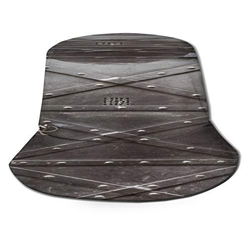 Yoliveya Sombrero de Pesca,Puerta de Hierro Vieja Reforzada con Correas y Remaches de Acero,Senderismo para Hombres y Mujeres al Aire Libre Sombrero de Cubo Sombrero para el Sol