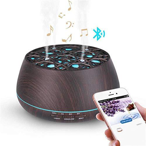 YSNMM Bluetooth-luidspreker, aroma-diffuser, met etherische oliën, waterloze, automatische uitschakeling, 7 kleurwisselende lampen, ultrasone bevochtiger