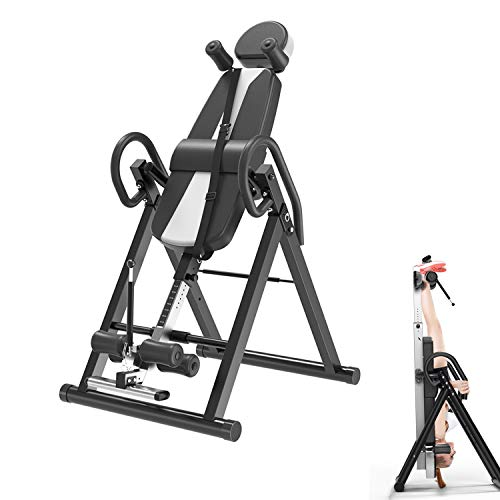 ZJS Inversion Table Back Therapy Fitness Reflexology Equipment Inversion Machine with Backrest,Inversion Table with Headrest & Adjustable Belt Back Stretcher Machine,Back Pain Relief Kit