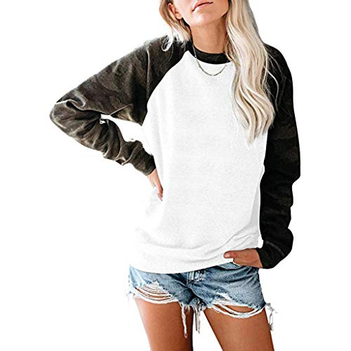 Find Bargain Gleamfut Women's Loose Sweatshirt Casual Patchwork Long Sleeve O-Neck Autumn Warm Pullo...