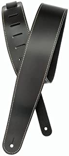 Planet Waves Classic Leather Guitar Strap with Contrast Stitch, Black