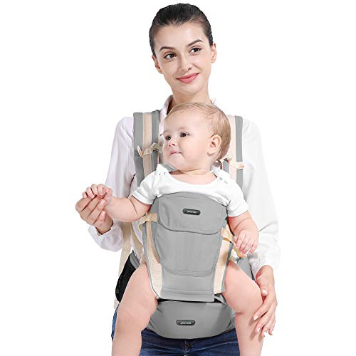Yoofoss Ergnomic Baby Carrier Complete Ten-Position 360° Front Carry Back Carrier with Removable Hip Seat for Infants and Toddlers for All Seasons