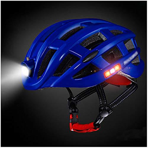 Fietshelm, LED-achtergrondverlichting Fietshelm USB oplaadbare Headlight Fietshelmen Mannen Vrouwen Safety Lamp Fietshelmen,Blue