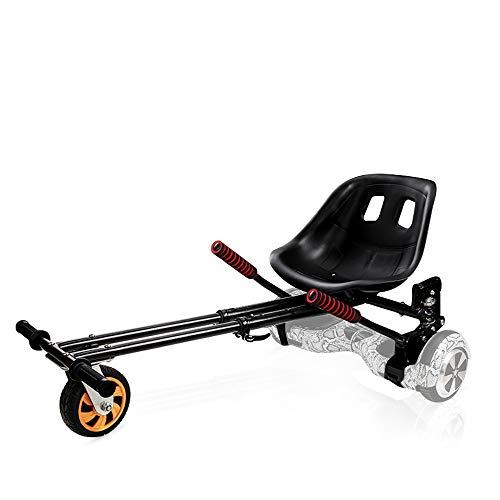 Hover Kart - Accesorio para asiento de kart de doble varilla para bicicleta de equilibrio automático, color negro, longitud ajustable