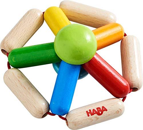 HABA 305578 - Greifling Farbendreh, Babyspielzeug ab 6 Monaten aus Holz zum Training der Motorik und Stimulation der Wahrnehmung