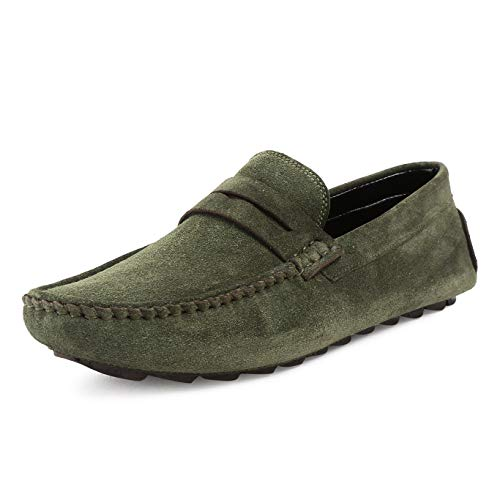 LOUIS STITCH Men Green Italian Suede Leather Loafers for Man (Prague SU) - 6 UK