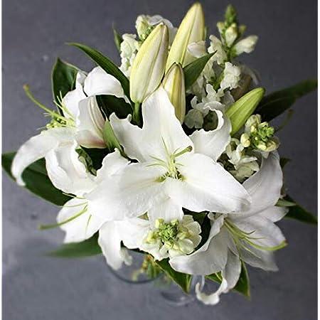 KOBE Flower smith ReiRi お供えの花 純白の大輪白ユリの花束 マケプレプライム便