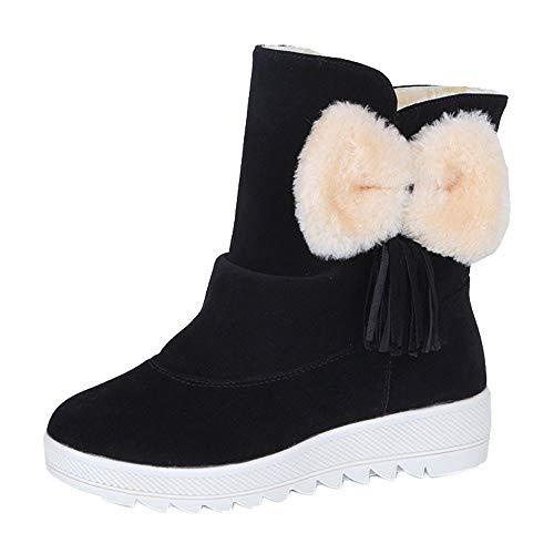Fenverk Frau Einfarbig Mit Bogen Krawatte SchlüPfen BeiläUfig Schuhe Warm Winter Pelz Futter Verdickung Draussen Gehen Anti-Rutsch Schnee Stiefel(Schwarz,36EU)