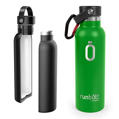 PracticDomus Runbott Botella Agua Térmica 600 ml en Acero Inoxidable sin BPA con Recubrimiento Interno Cerámico y Doble Capa con Vacío. Sin Sabor Metálico. Incluye Mosquetón. Color (Verde)