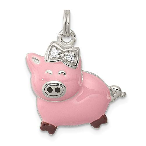 Colgante de plata de ley 925 con circonita cúbica y circonita cúbica de imitación de diamante de color rosa esmaltado, con colgante de cerdo pulido, para regalo de joyería para mujeres