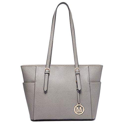 Miss LuLu Damen Handtasche Elegant Schultertasche Shopper Kunstleder Damentasche Groß (LM1642-1 GY)
