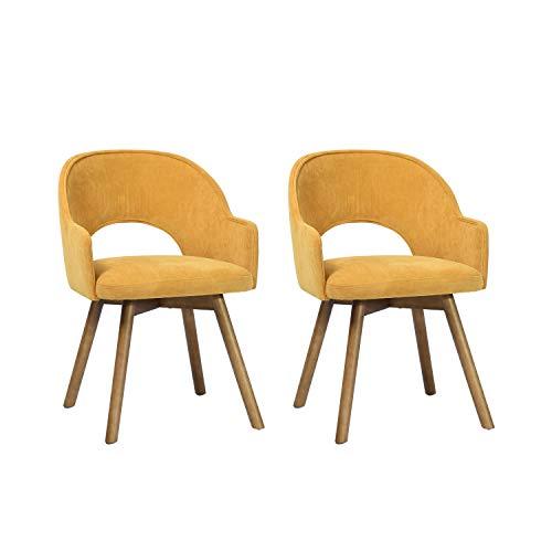 Juego de 2 sillas de Comedor de Estilo contemporáneo con reposabrazos y Patas de Madera, Color Amarillo