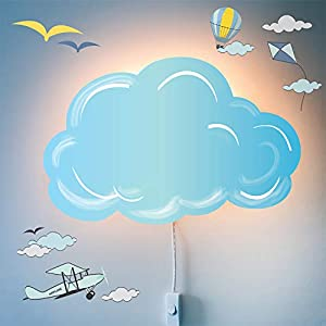LED Wall Lamp Nightlights for Children and Decal Set – Nighty Night Light for Kids Room Decor with Plug in Cord and Wall Stickers – Nursery Decoration by Smart Wallaby, Cloud Theme